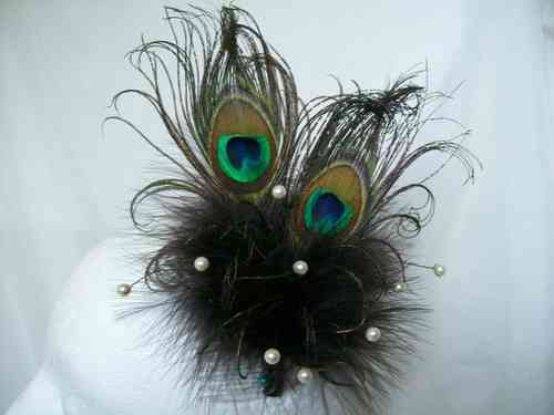Chocolate Brown Victoriana Rustic Style Peacock Feather Fascinator