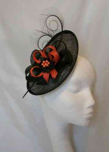 Black and Orange Pandora Upback Curl Feather Fascinator Hat