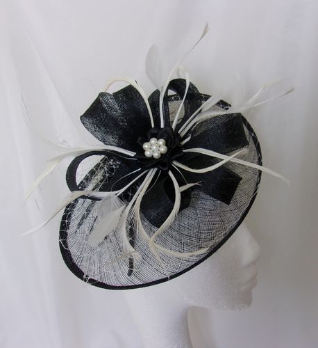 Ivory and Black Aurora Saucer Veil and Feathered Fascinator Hat