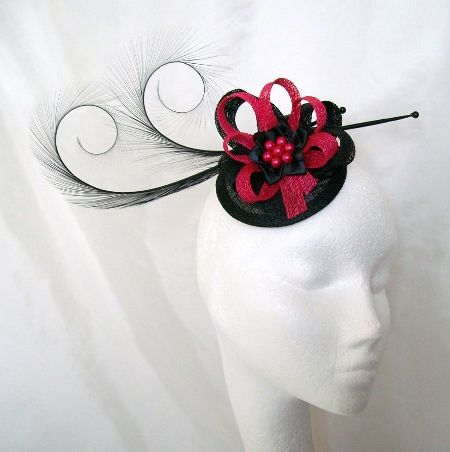 5d0eb7268ba2f Black   Cerise Pink Curl Feather sinamay   pearl cluster fascinator ...
