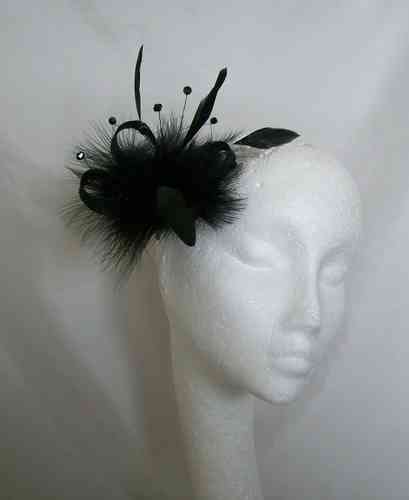 Black Ophelia Small Feather Fascinator