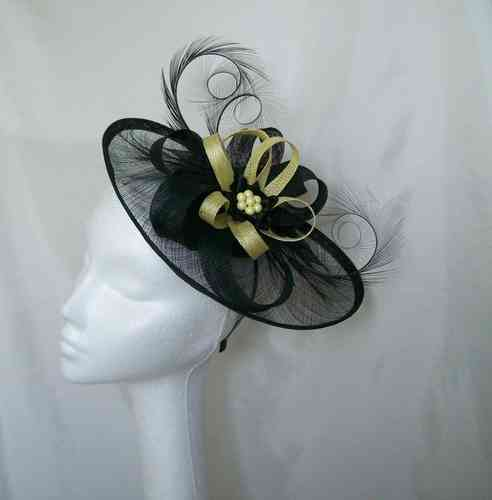Black and Lemon Yellow Cecily Saucer Style Feather and Sinamay Loop Fascinator Hat