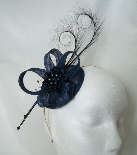 Navy Blue Isadora Curl Feather & Sinamay Fascinator