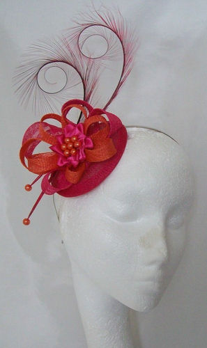 Cerise Pink and Orange Delilah Curl Feather and Sinamay Loop Fascinator
