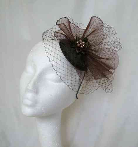 Chocolate Brown Elizabeth Vintage Style Veil and Crinoline Fascinator