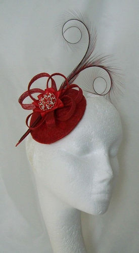 Red Lace Isadora Vintage Style Curl Feather Fascinator