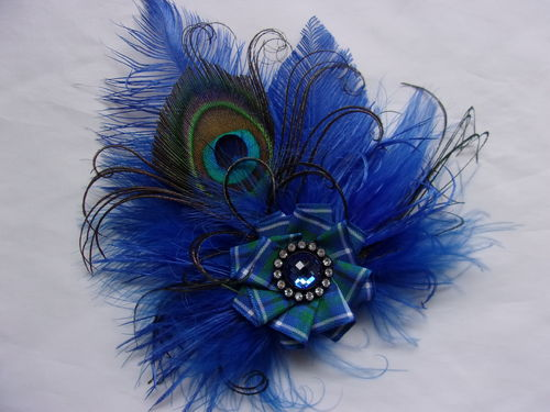 Royal Blue Douglas Tartan Feather Brooch