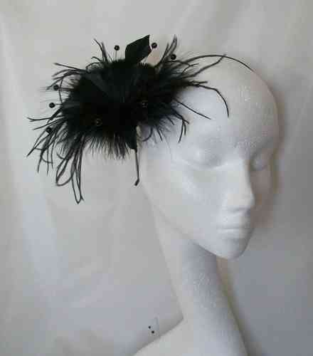 Black Suki Feather Flower Fascinator