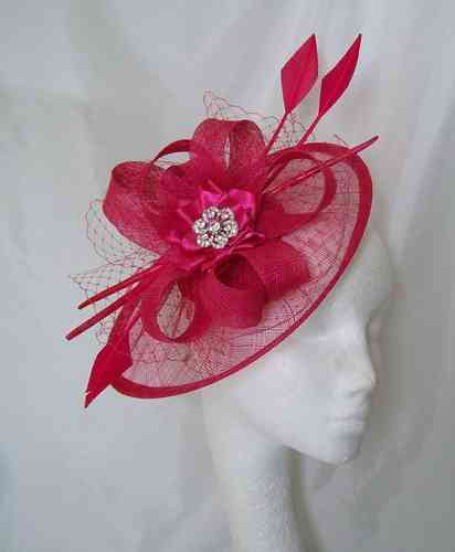 Cerise Pink Jessica Saucer Style Veil and Arrow Feather Statement Fascinator Hat