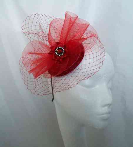 Bright Red Elizabeth Vintage Style Veiling and Crinoline Fascinator