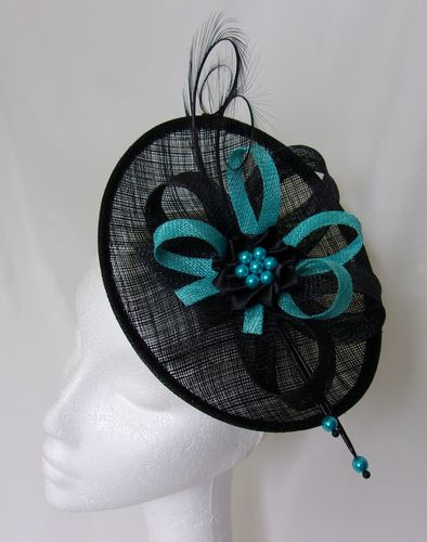 Black and Turquoise Blue Pandora Upback Curl Feather Fascinator Hat