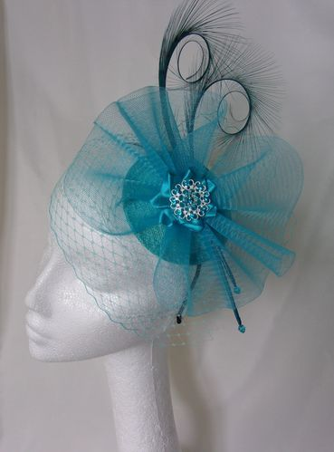 Shades of Turquoise Veiled Fascinator - Curl Feather Veil & Crinoline Wedding Fascinator