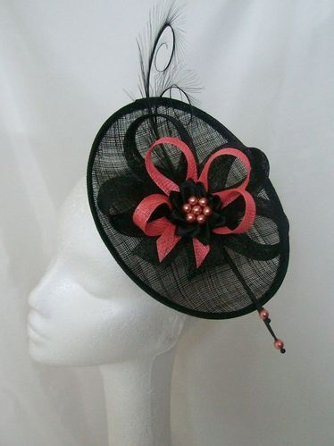 Black and Coral Pandora Upback Feather and Sinamay Fascinator