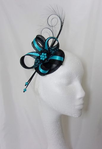 Black & Turquoise Blue Curl Feather and Sinamay Ribbon Fascinator