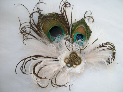 Ivory  Peacock Feather Steampunk Little Gem Hair Clip Fascinator