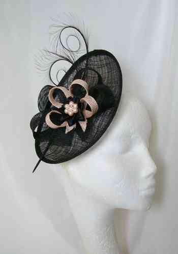 Black and Pale Peach Pandora Upback Curl Feather Fascinator Hat