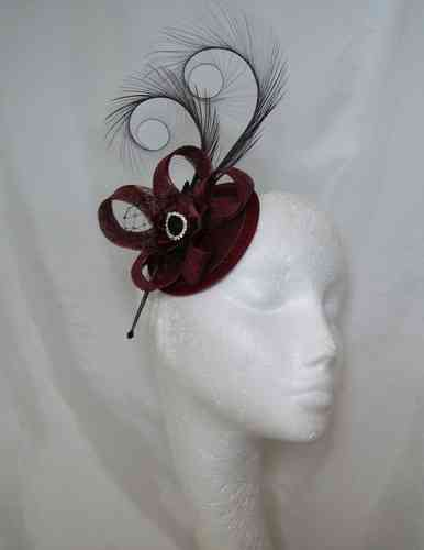 Isadora - Curl Feathers and Sinamay Detail Fascinator Hat