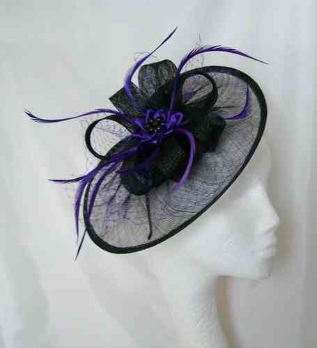 Black and Dark Purple Aurora Feather Fascinator Hat
