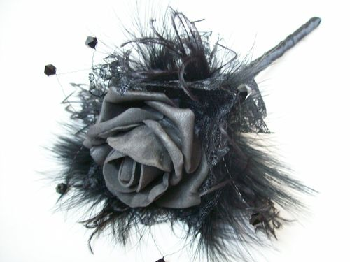 Black Rose and Feather Gothic Wedding Fairy Wand