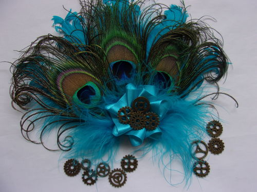 Turquoise Blue Peacock & Curled Feather Steampunk Hair Clip Headpiece