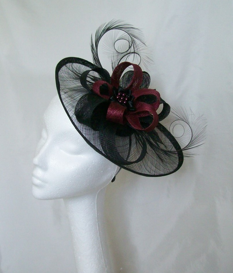 Black Sinamay Saucer Curl Feather and Burgundy Wine   Pearl Cecily ... 951c759796d