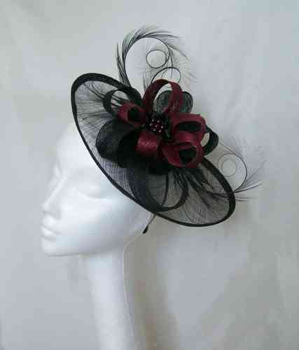 Black and Burgundy Wine Cecily Saucer Style Feather and Sinamay Loop Fascinator Hat