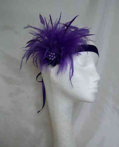 Purple Anna Mixed Feather Vintage Style Flapper Band
