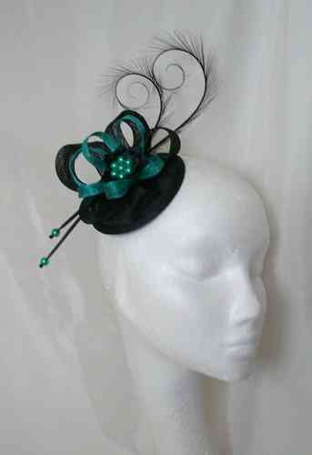 Black and Jade Green Delilah Curl Feather and Sinamay Loop Fascinator