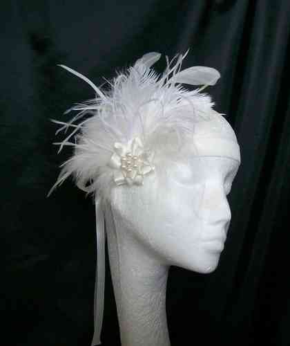 Ivory Anna Mixed Feather Vintage Style Flapper Band