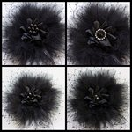 Black Elsie Feather Veil and Crystal or Pearl Vintage Gothic Victorian Hair Clip