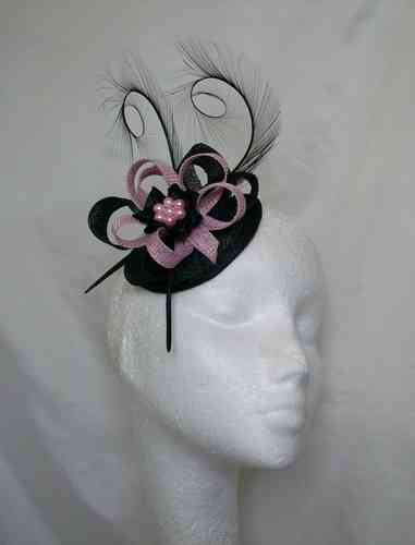 Black and Pale Candy Pink Delilah Curl Feather and Sinamay Loop Fascinator