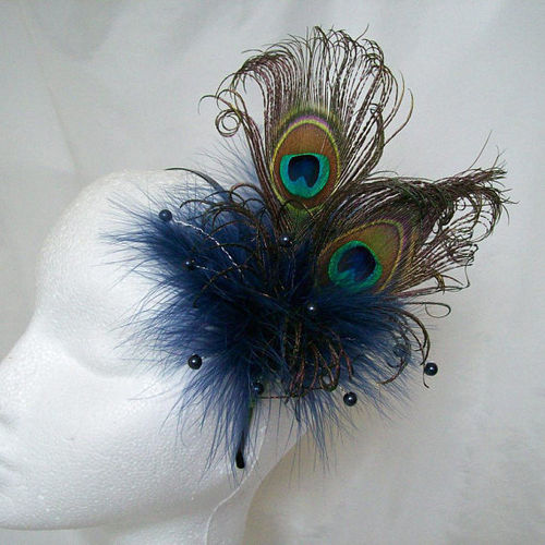 Navy Marine Blue Victoriana Burlesque Style Peacock Feather Fascinator