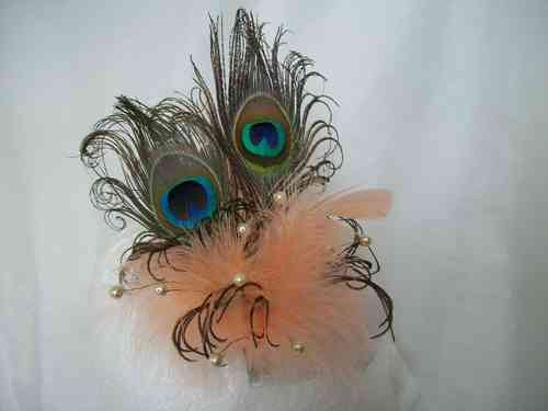 Peach Apricot Victoriana Burlesque Style Peacock Feather Fascinator