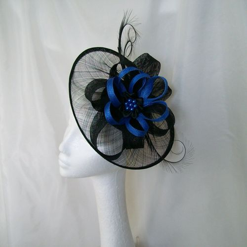 Black and Sapphire Blue Cecily Saucer Style Feather and Sinamay Loop Fascinator Hat