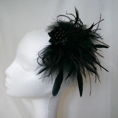 Black Anna Mixed Feather Hair Clip Fascinator