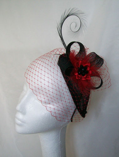 Red and Black Endora Teardrop Crystal Studded Vintage Gothic Percher Fascinator