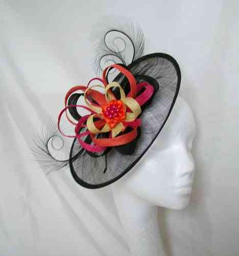 Vibrant Rainbow Colour Cecily Saucer Style Feather and Sinamay Loop Fascinator Hat