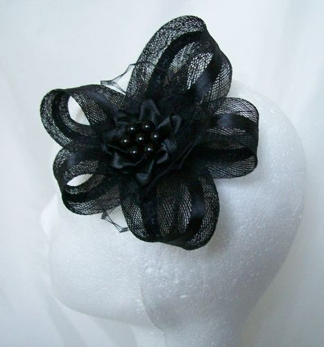 Black Mia Sinamay Loop Hair Clip Fascinator