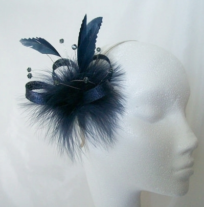Navy Blue Feather Sinamay   Crystal Mini Fascinator Wedding Hair Comb 0ff3b4bbec6