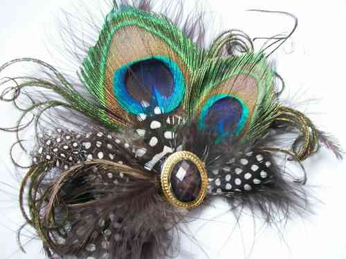 Chocolate Brown and Mink Spotted Vintage Style Peacock Feather Clip