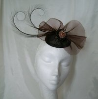 Chocolate Brown Matilda Curl Feather and Crinoline Fascinator