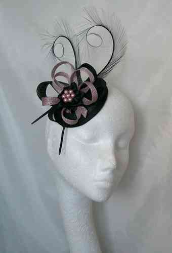 Black and Heather Pink Delilah Curl Feather and Sinamay Loop Fascinator