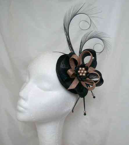 Black and Latte Nude Delilah Curl Feather and Sinamay Loop Fascinator