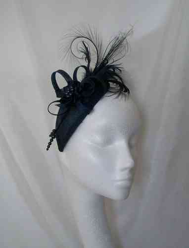 Rosalind - Teardrop Style with Feathered Plume Mini Hat