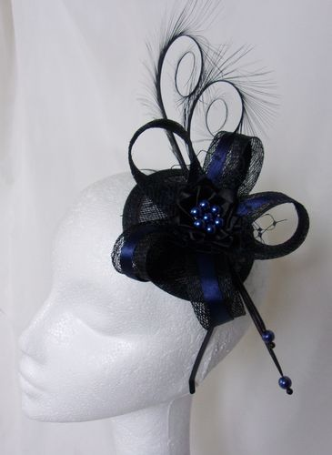 Black & Navy Marine Blue Pheasant Curl Feather Sinamay Wedding Fascinator Mini Hat