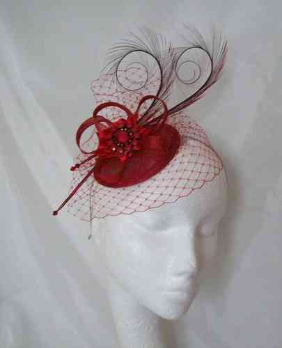 Veil Isadora - Curl Feathers Veil and Sinamay Bow Fascinator