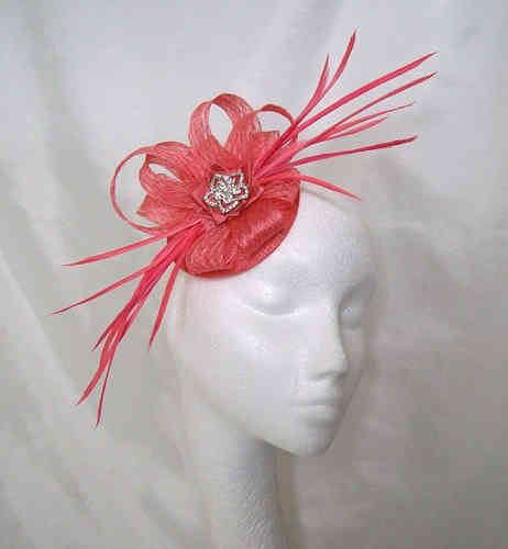Coral Alice Sinamay Loop and Feather Fascinator