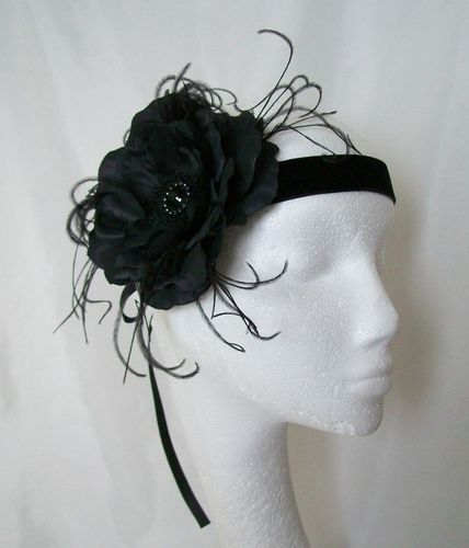 Black Rose Vintage Style Flapper Band