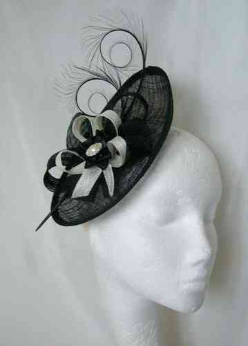 Black and Ivory Pandora Upback Curl Feather Fascinator Hat