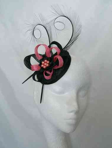 Black and Coral Delilah Curl Feather and Sinamay Fascinator